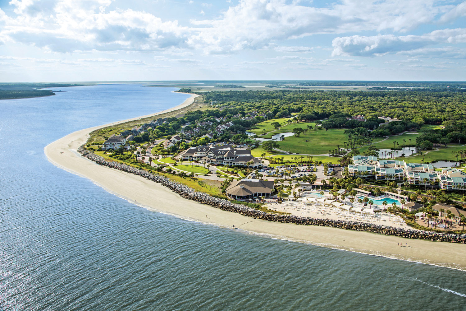 aerial view of the seabrook island beach club and pool