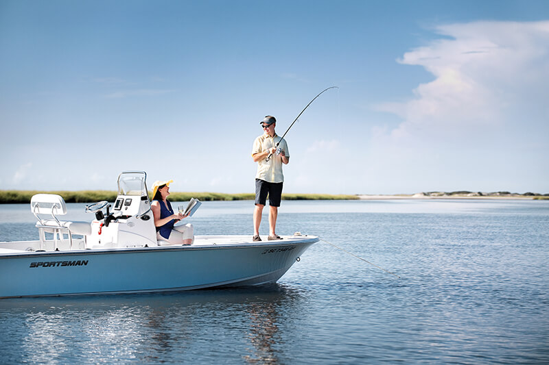 Man on boat fishing; there are plenty of things to do on Seabrook Island!