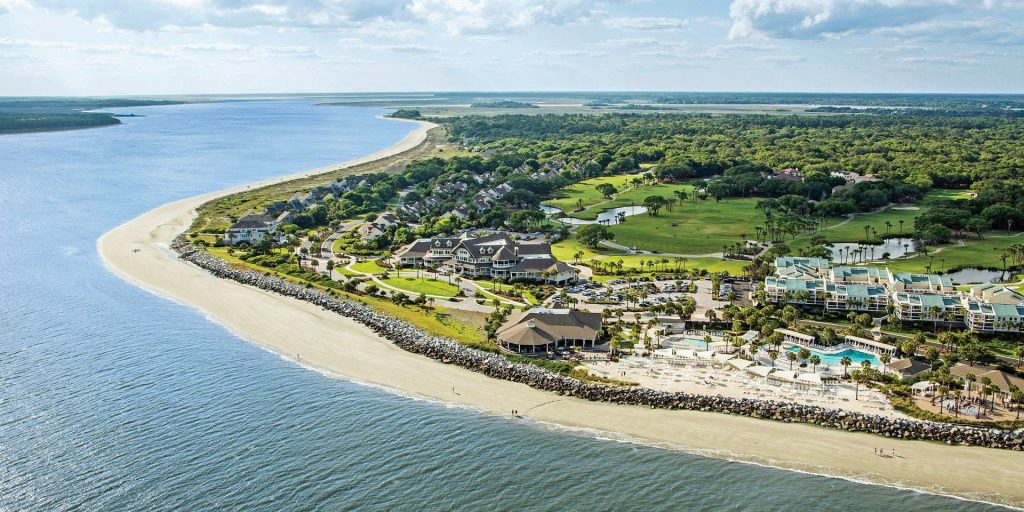 aerial view of seabrook island community and oceanfront property