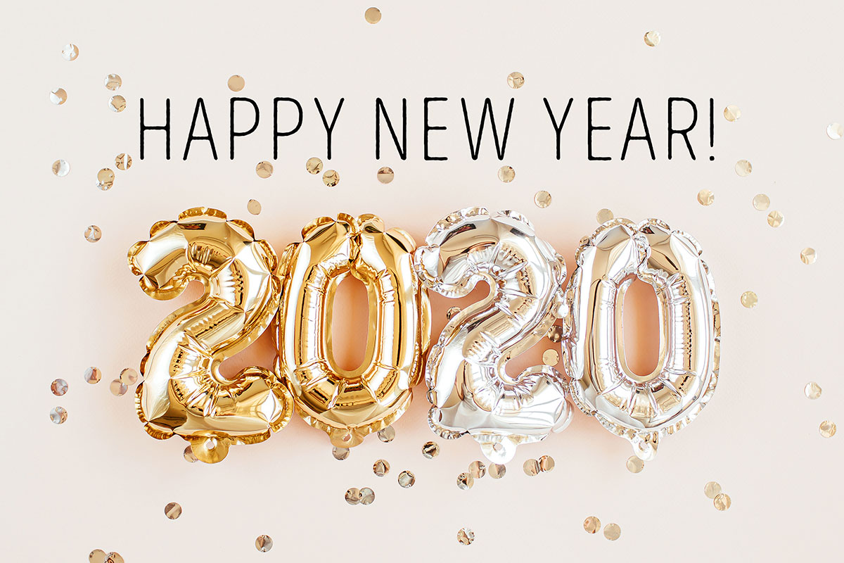 happy new year image with 2020 balloons