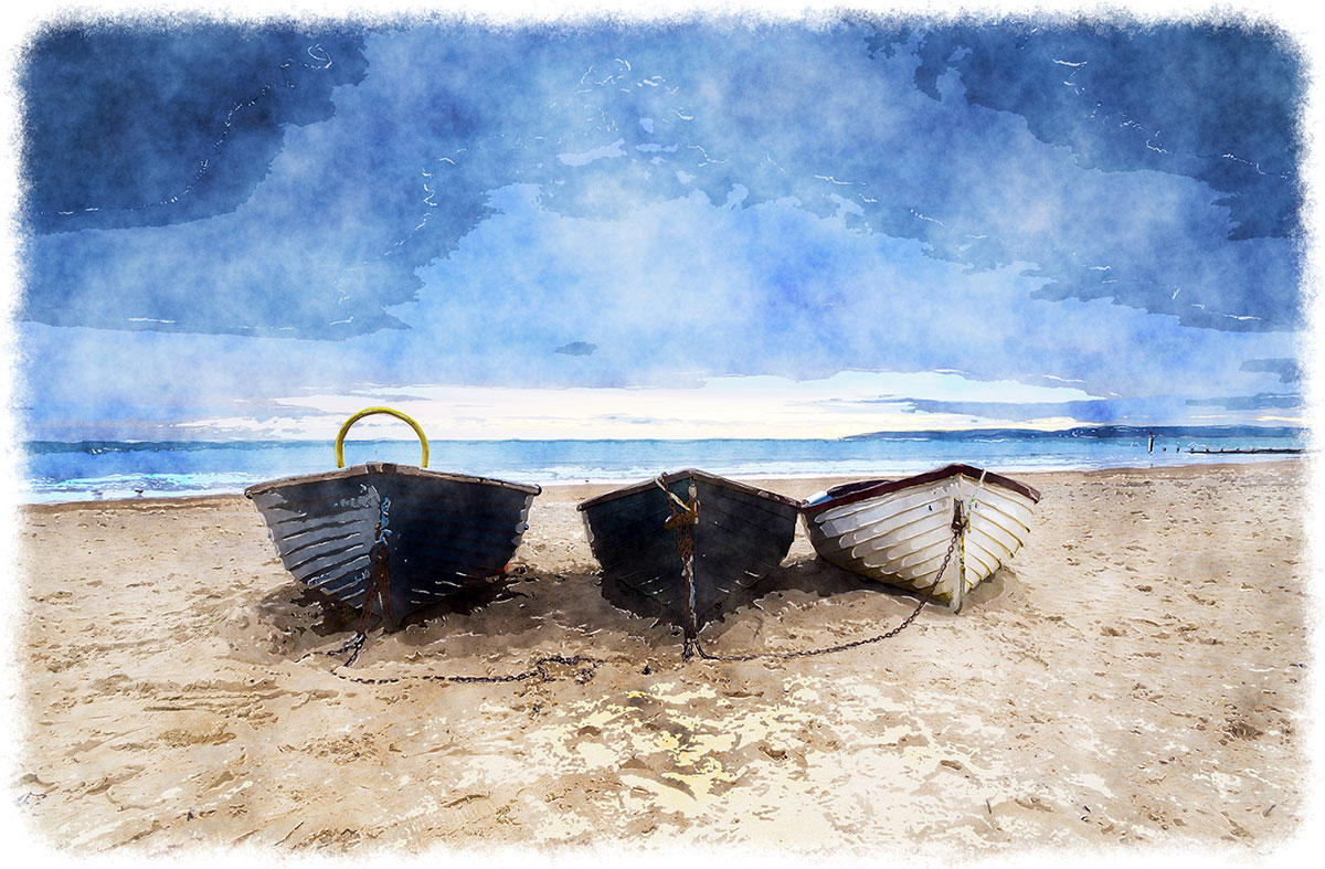 painting of three boats on the beach