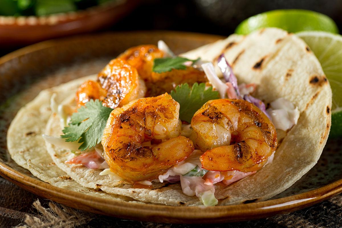 shrimp tacos from a restaurant near seabrook island