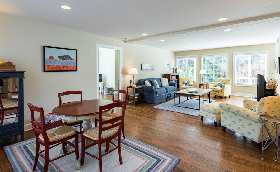 living room with eating space