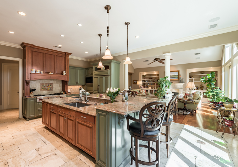 open floor plan with large kitchen and living room