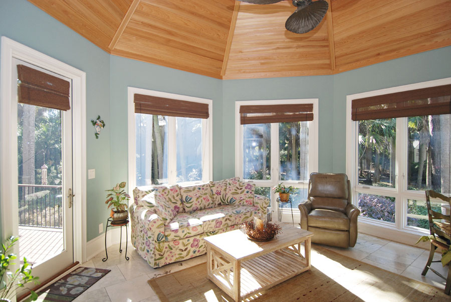 indoor gazebo with windows and furniture
