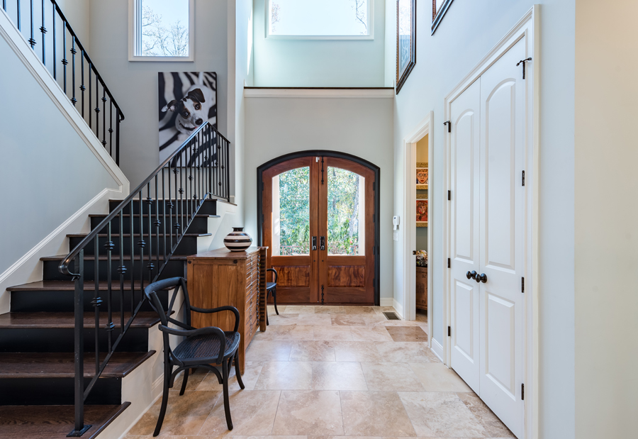seabrook island home foyer with stairs