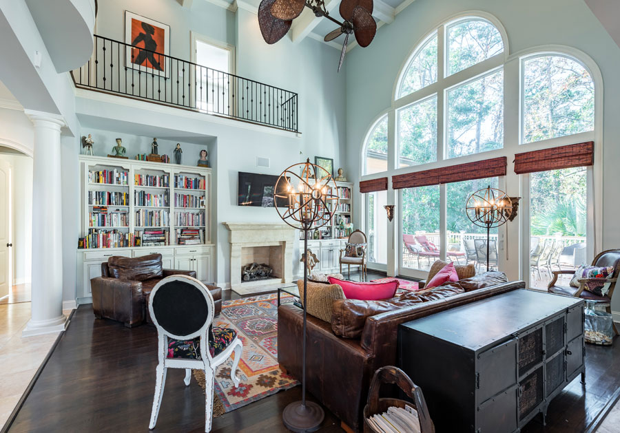 seabrook island home living room with tall ceilings and natural light
