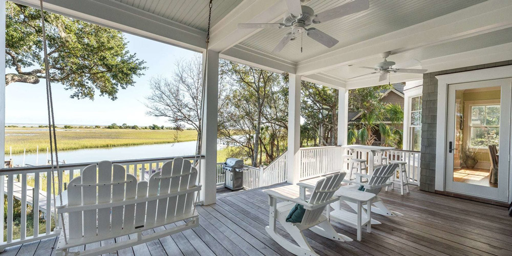 Marsh Haven Seabrook porch with swing and rocking chairs