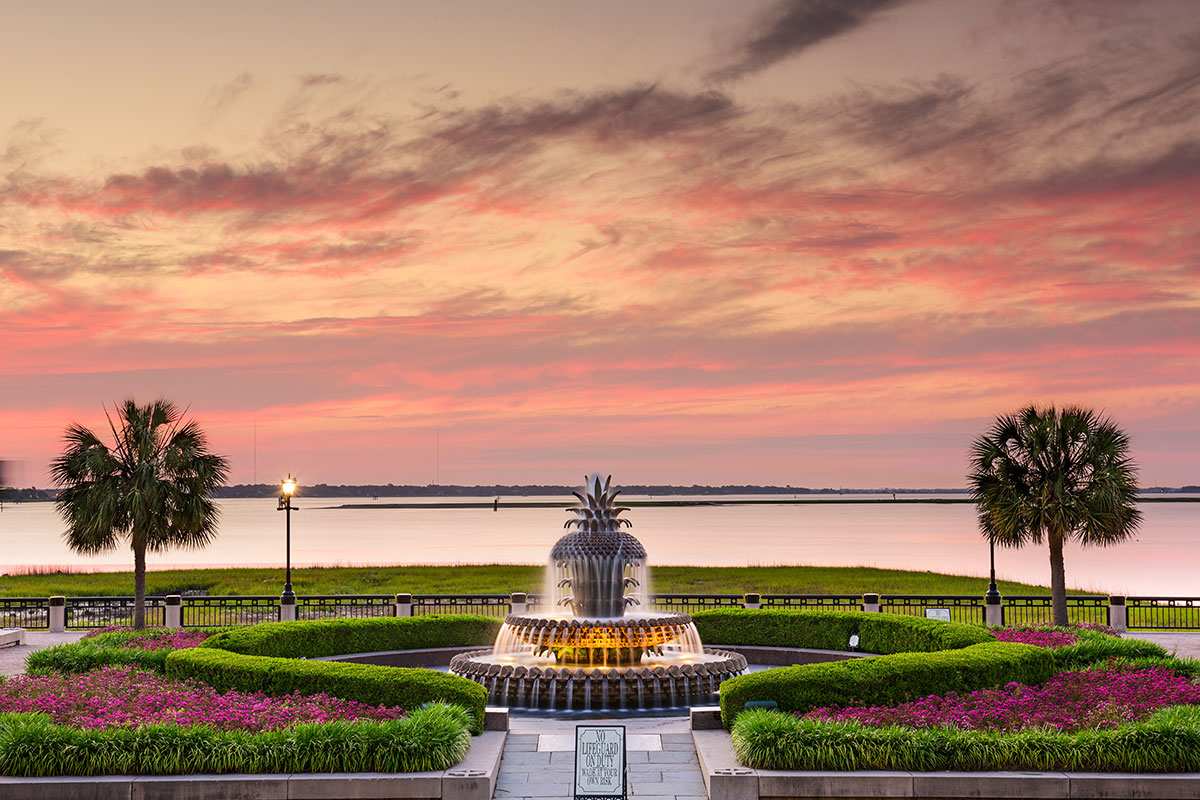 pineapple fountain at sunset in waterfront park, charleston