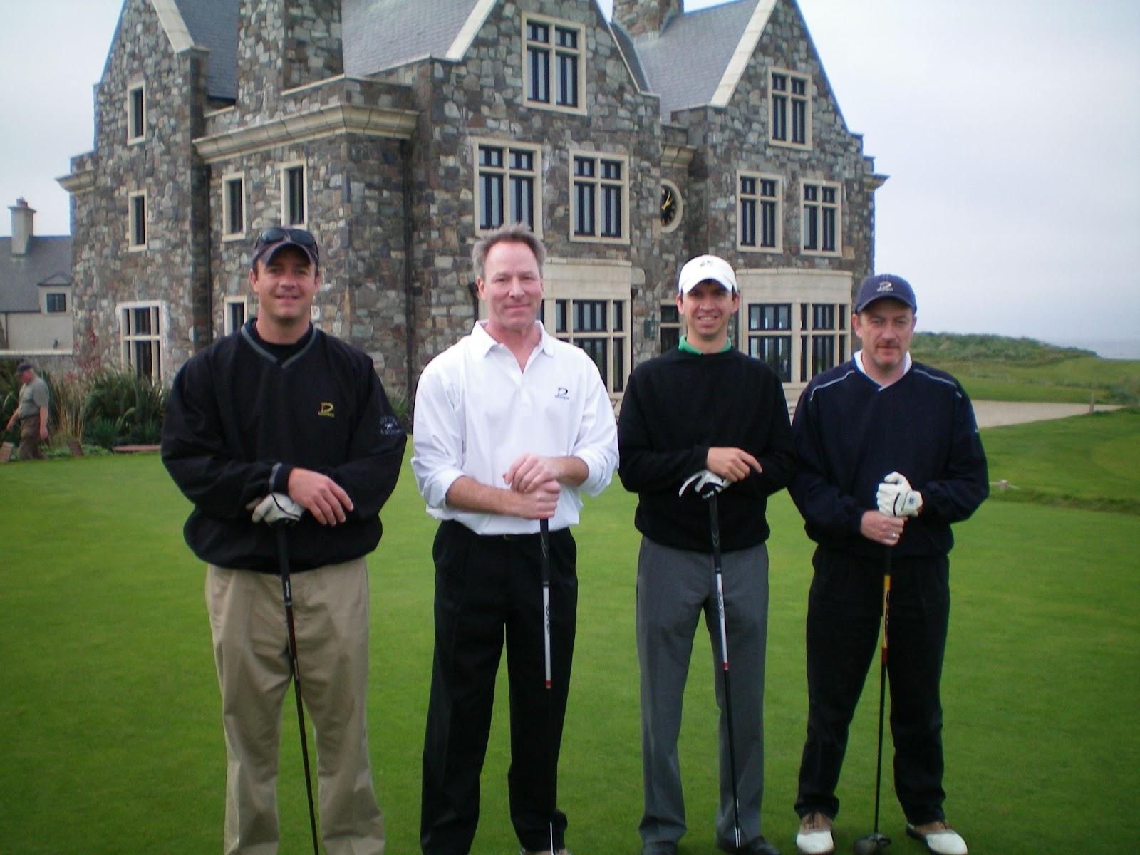 Photo of Morgan Eldridge and three friends posing with golf clubs in golf attire