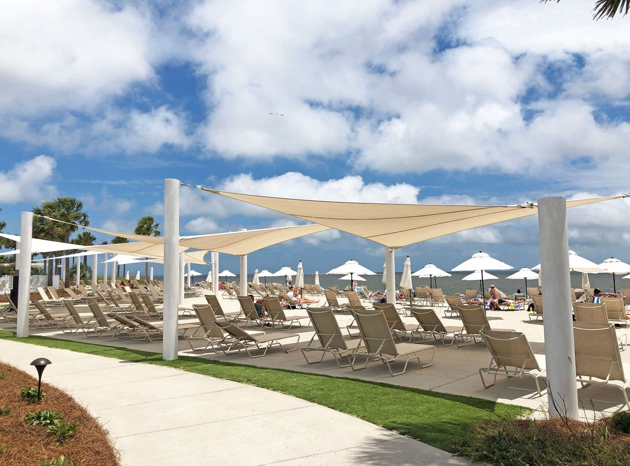 Seabrook Island oceanfront Club canopies covering chairs
