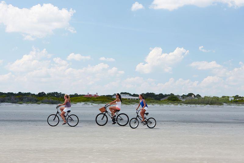 Bikers along the beach of Seabrook Island